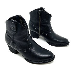 Born Cowboy Ankle Boots Black Leather Western 6.5